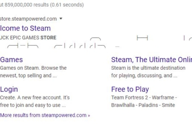 """Steam's Google page tells players to """"F*** Epic Games Store"""" 11"""