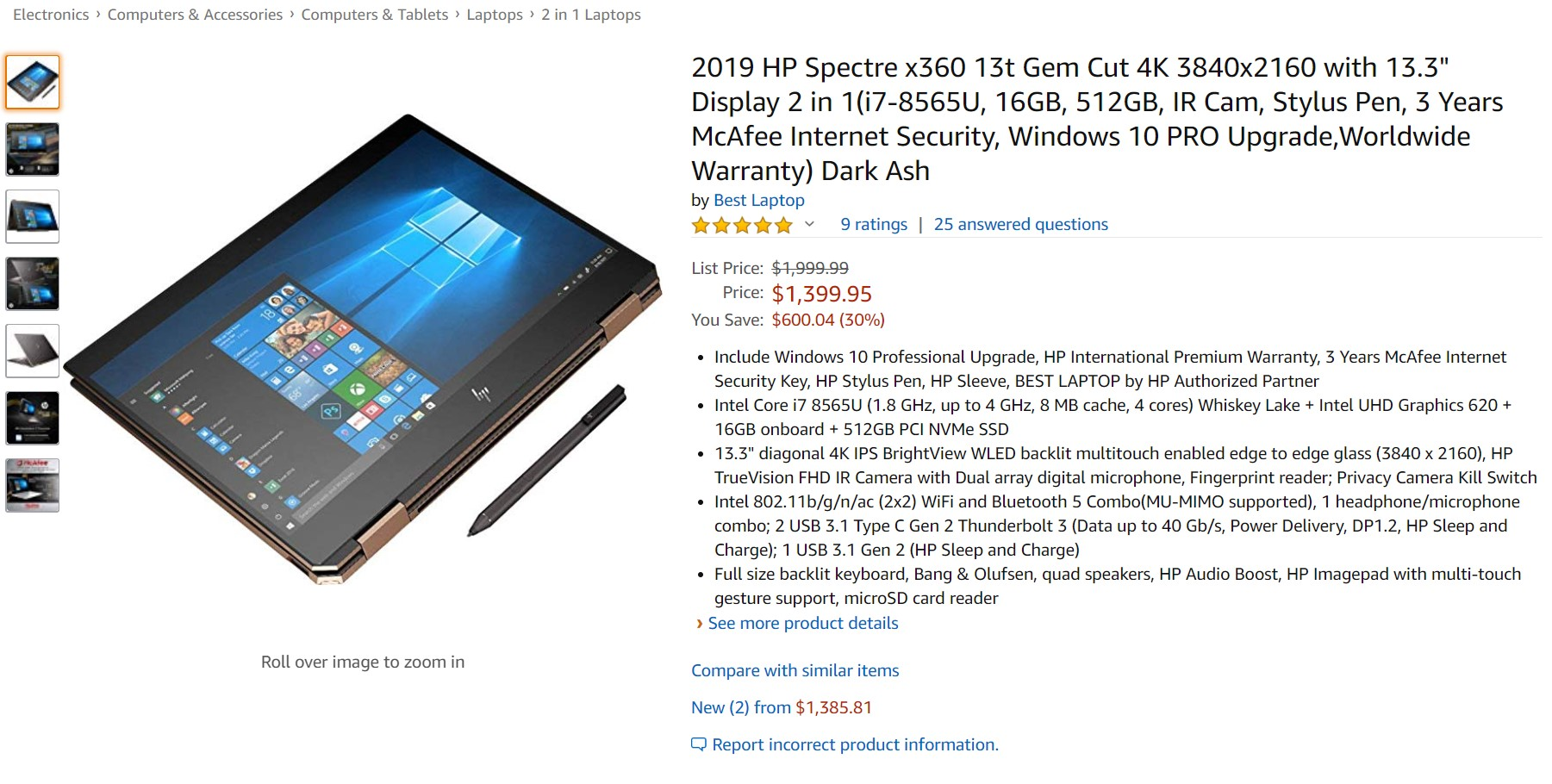 Deal Alert: HP Spectre x360 13t 2019 i7 convertible laptop is $600 cheaper today 1