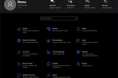 Settings header in Windows 10 is back 1