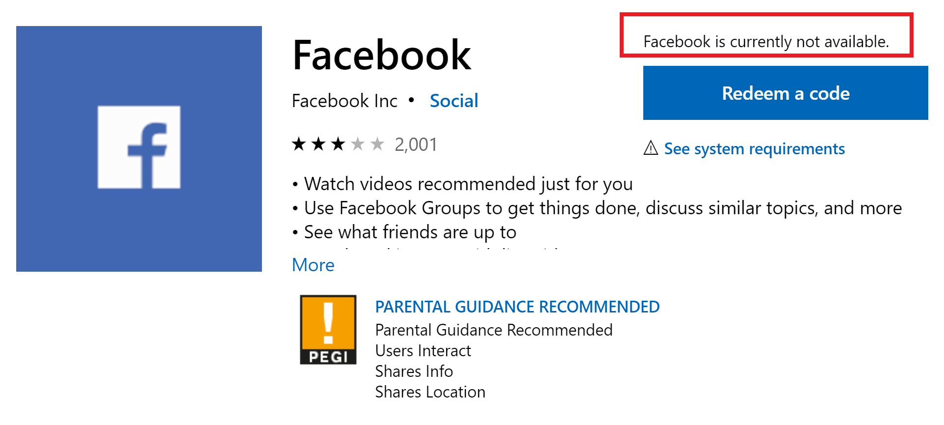 Sad Day Facebook App For Windows 10 Removed From Microsoft Store