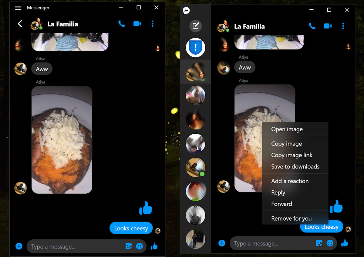 Both Facebook Messenger and Messenger (beta) for Windows 10 updated with Fluent design menus and other improvements 1
