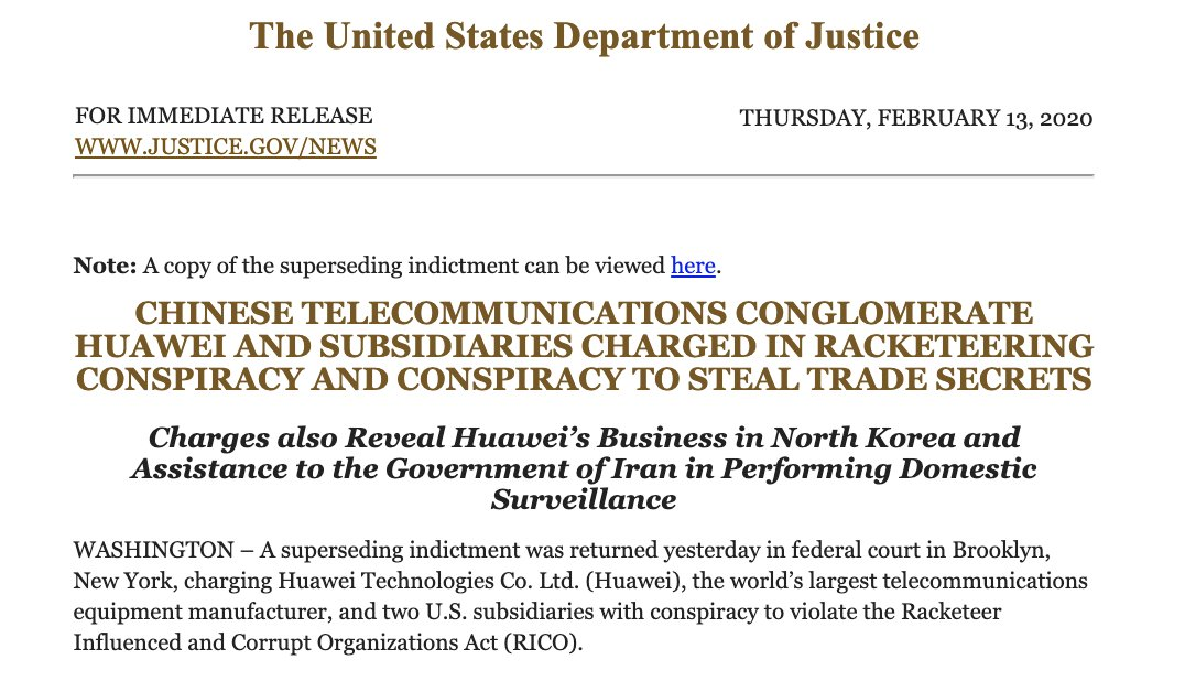 US DOJ updates their indictment against Huawei for RICO violations 1
