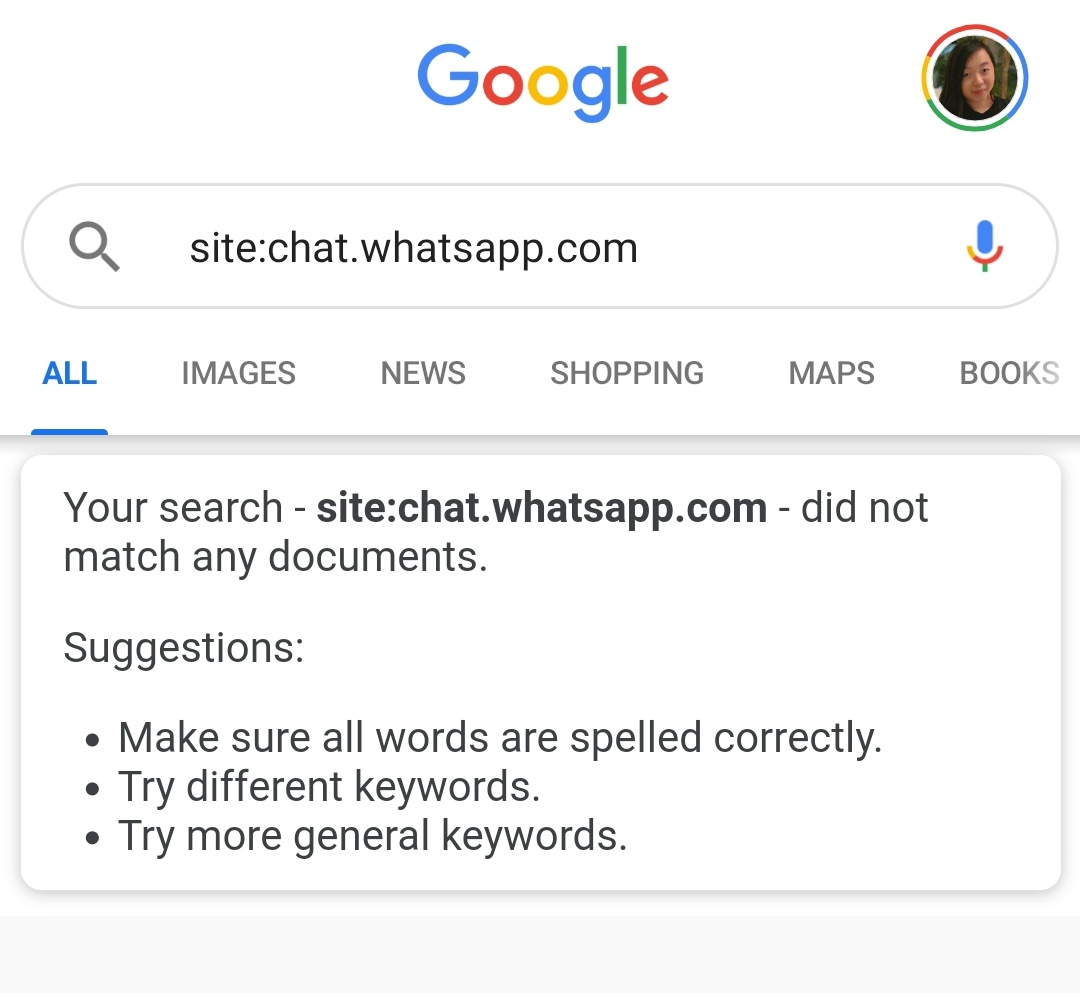 Private Whatsapp groups visible in Google searches