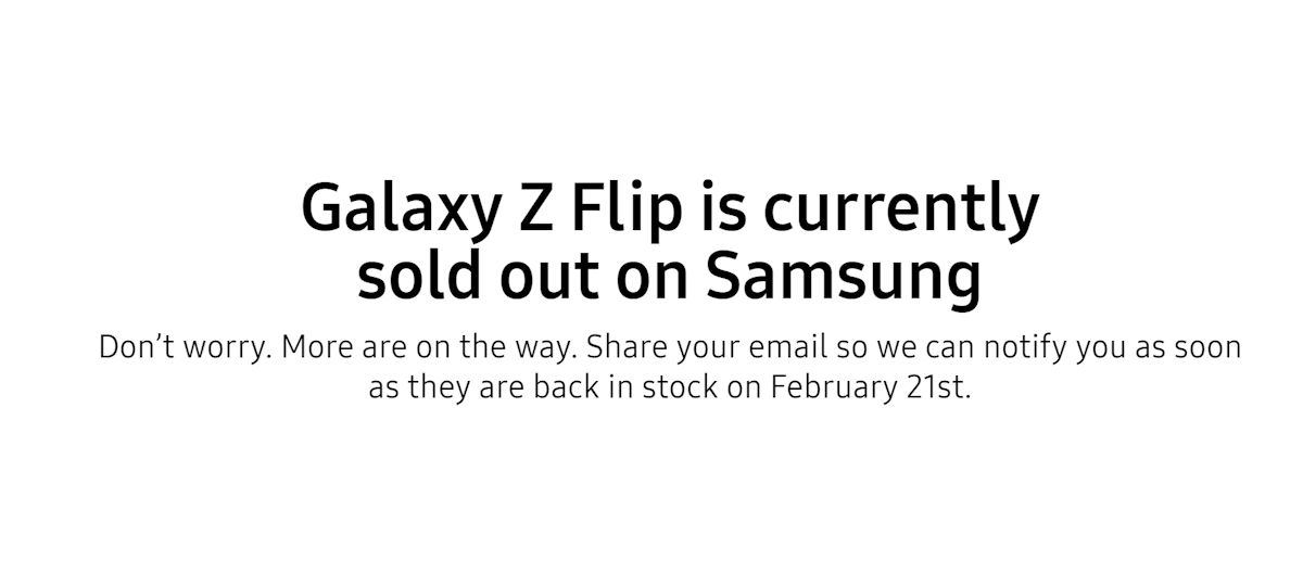 The Samsung Galaxy Z Flip sold out in USA 2