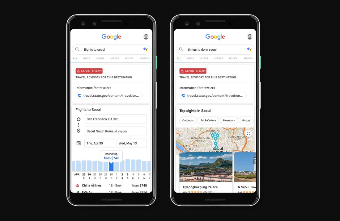 You can now get travel advisories and airline trip cancellation policies on Google 1