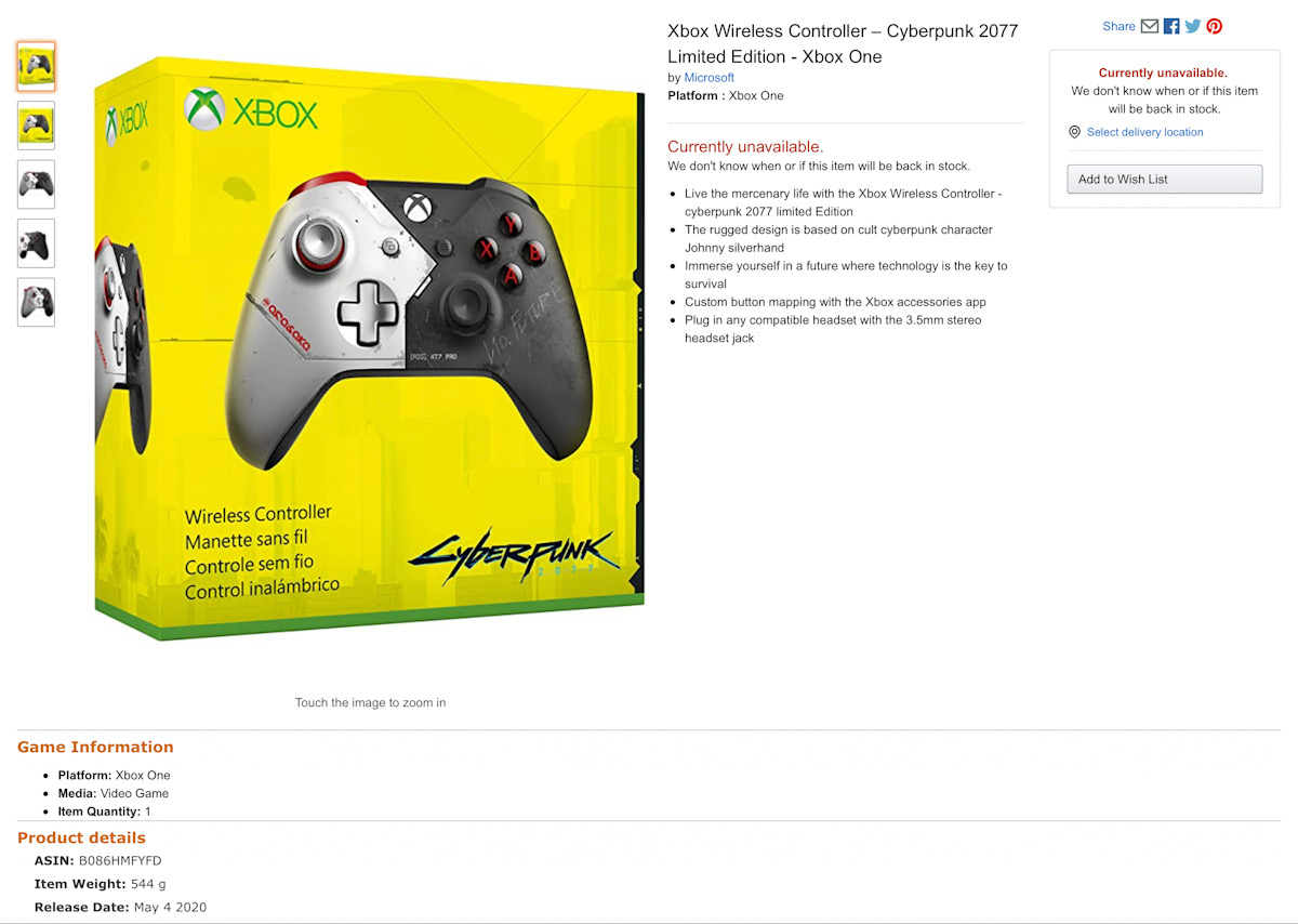 Cyberpunk 2077 Xbox wireless controller let out in May, first photos