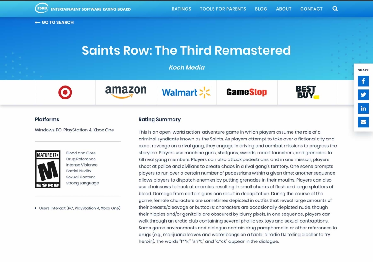Saints Row: The Third Remastered ESRB rating