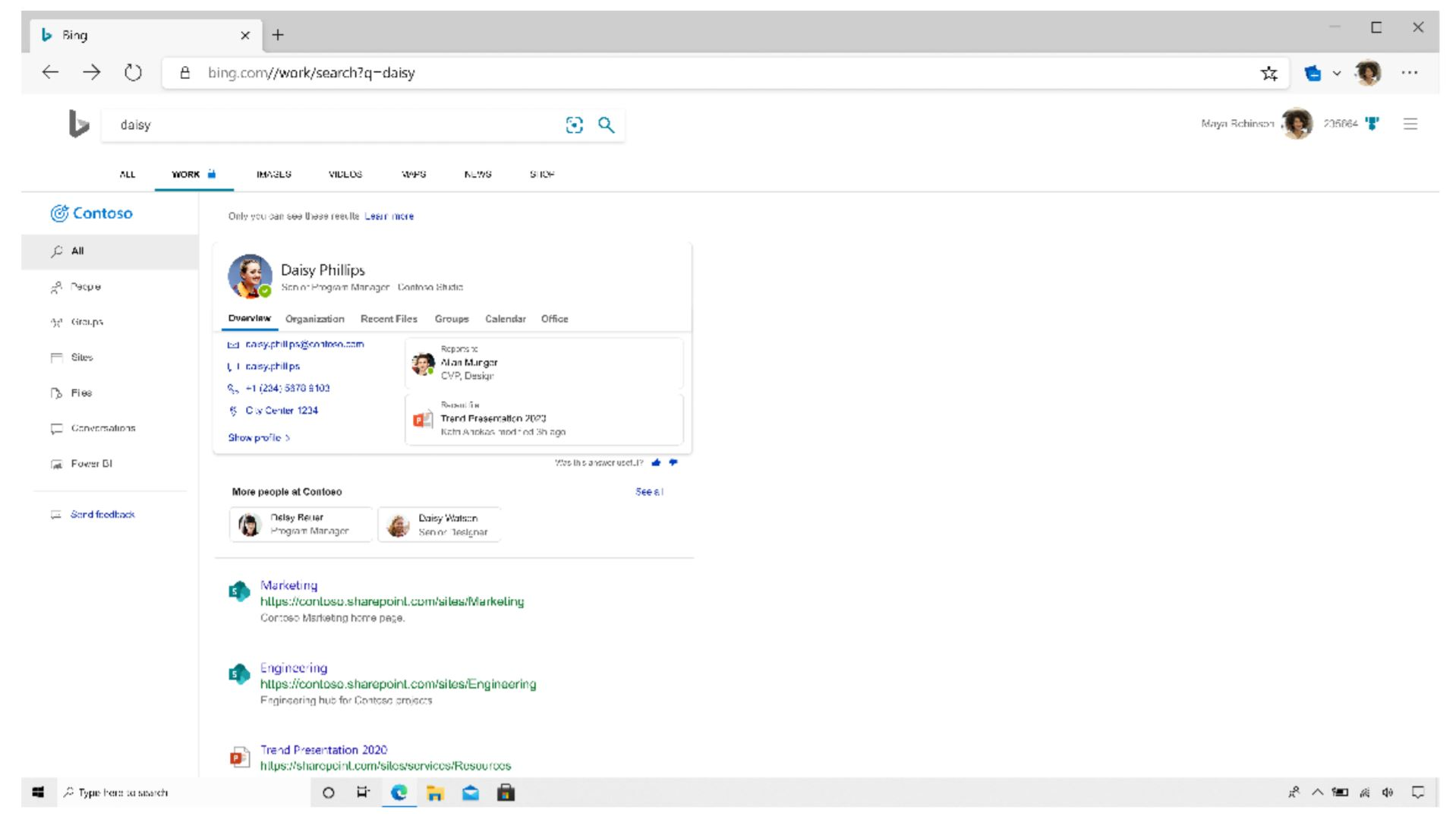 Bing work page