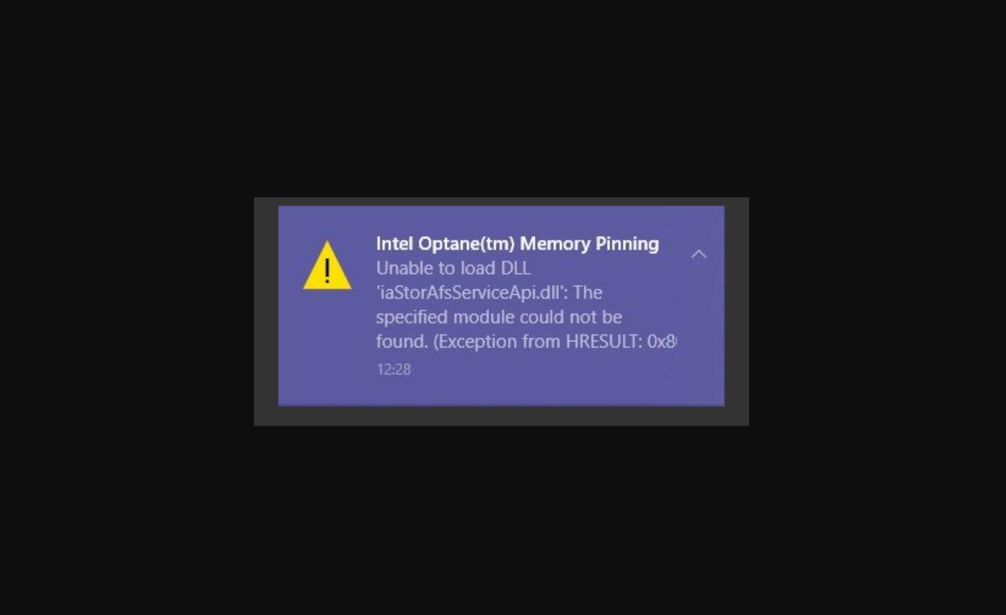 Optane Memory Pinning Error