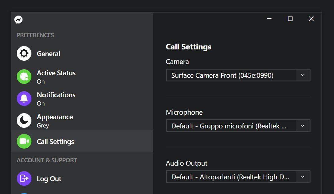 call settings messenger