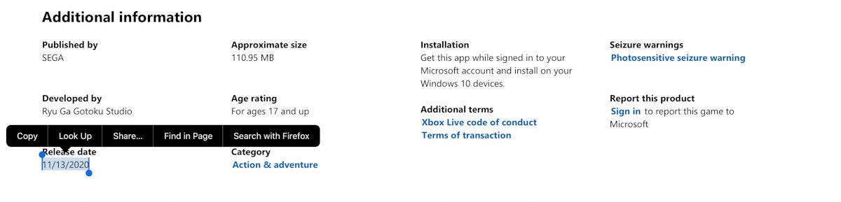 Yakuza Like A Dragon release date Xbox Series X release date