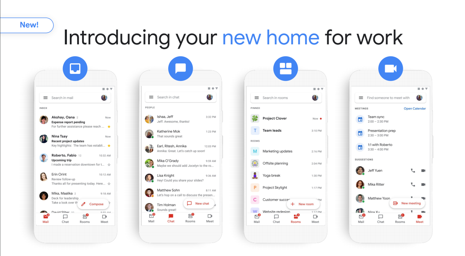 Gmail to integrate Chat, Google Meet, Rooms