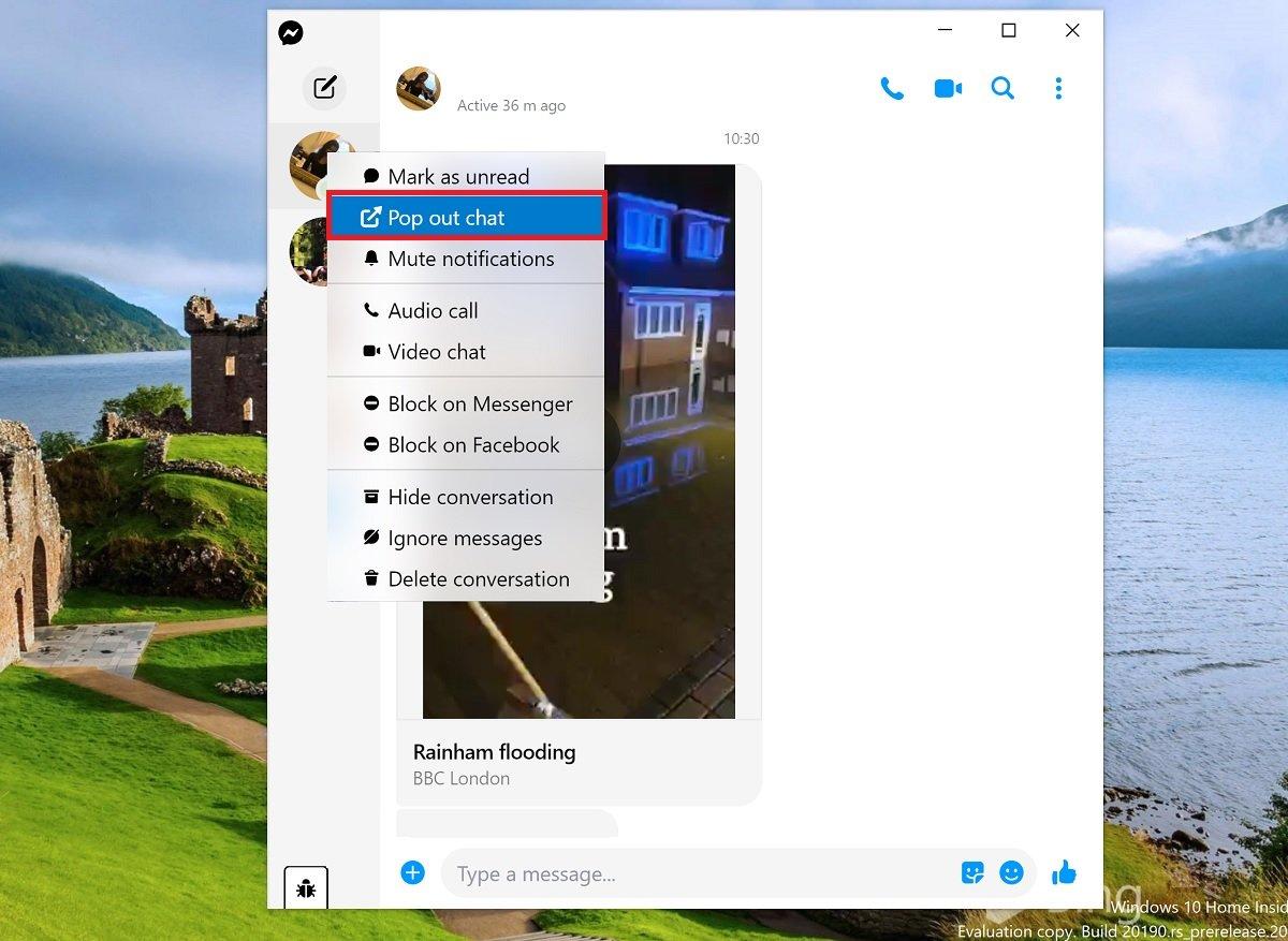 Facebook Messenger (Beta) app for Windows 10 gets better web integration