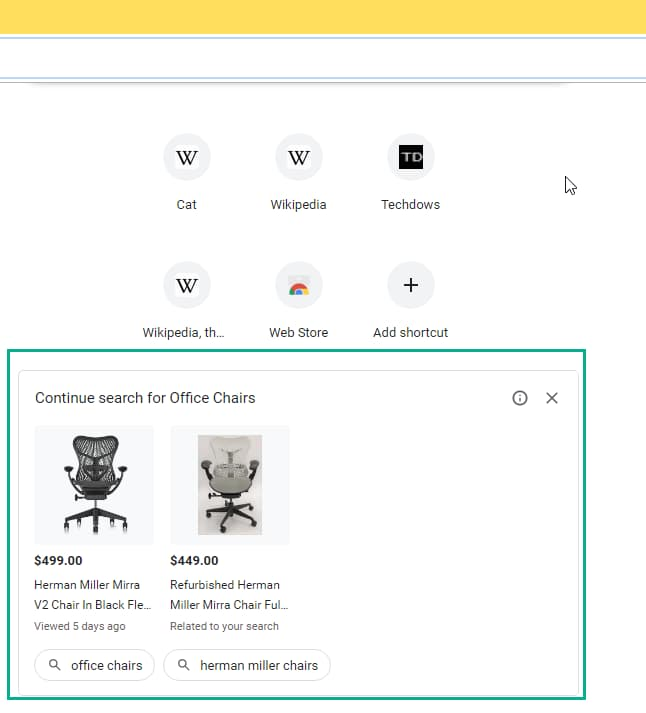 continue search for office chairs ad Chrome NTP