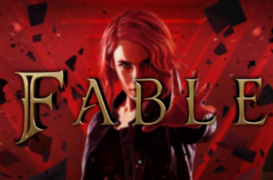 Fable Reboot logo on top of Control protagonist Jesse Faden