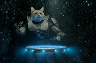Taika Waititi Xbox Power Your Dreams advert showing Master Chief as a cat DJ