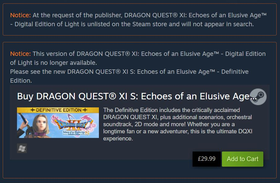 Dragon Quest XI Steam page