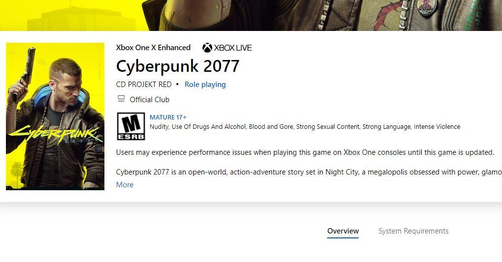 cyberpunk xbox warning