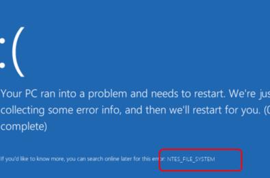 windows 10 blue screen ntfs file system