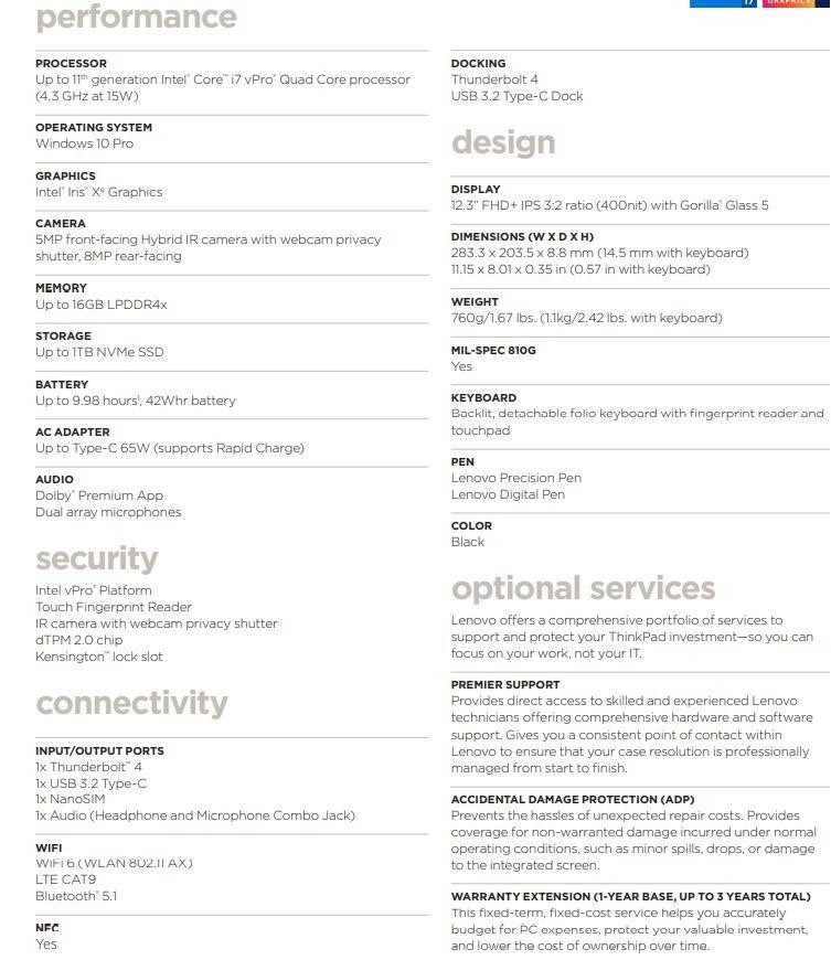 Lenovo ThinkPad X12 tech specs