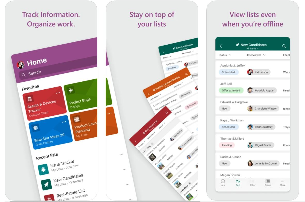 Microsoft Lists iOS app
