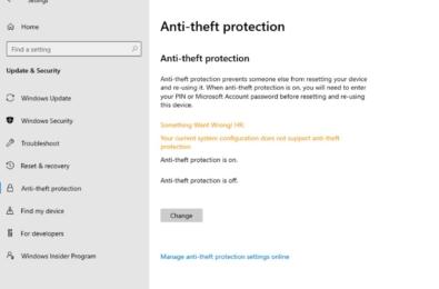 Microsoft Windows 10 Anti-theft protection