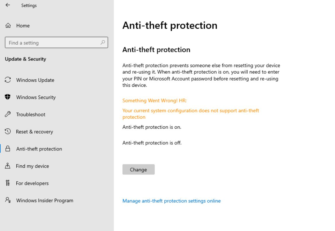Microsoft Windows 10 Anti-theft protection