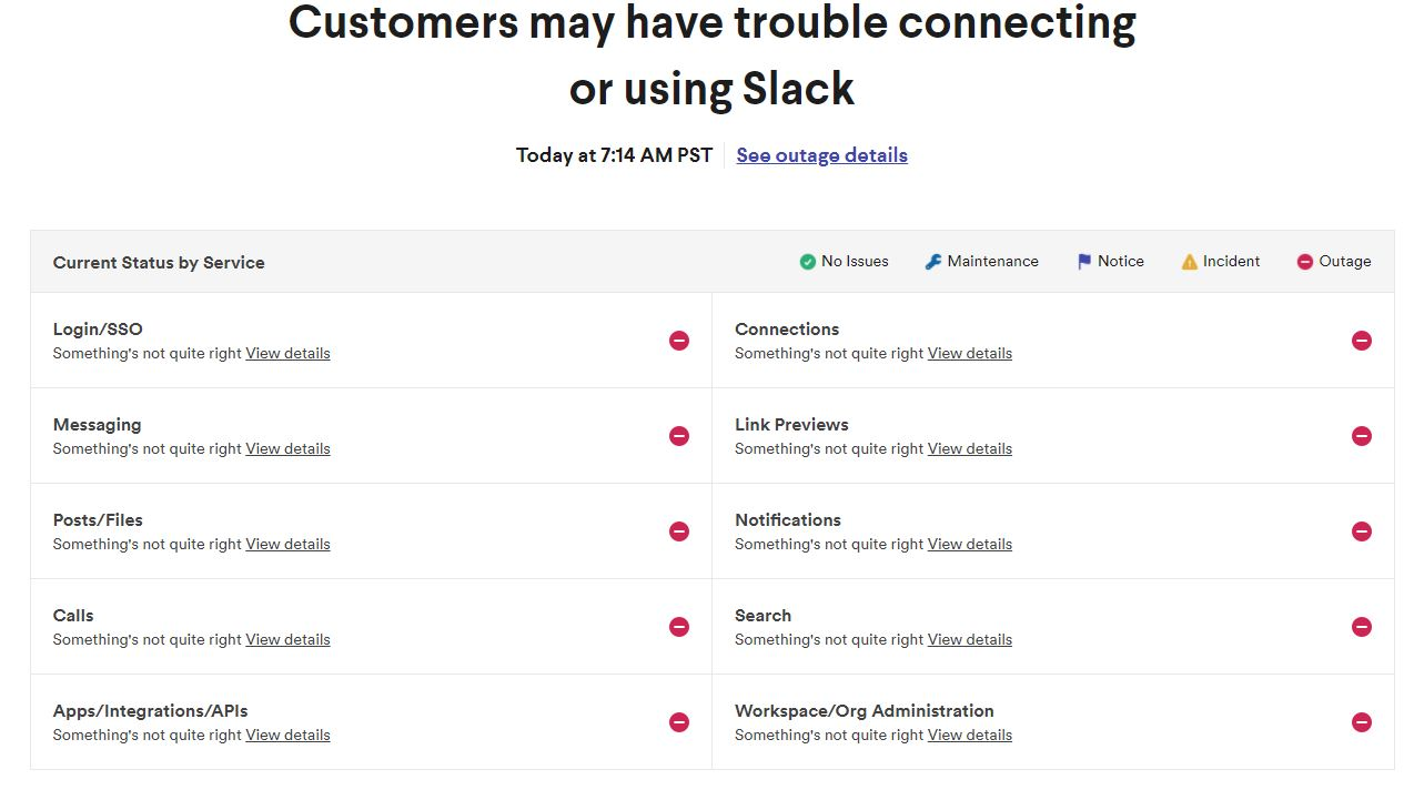 Slack down outage