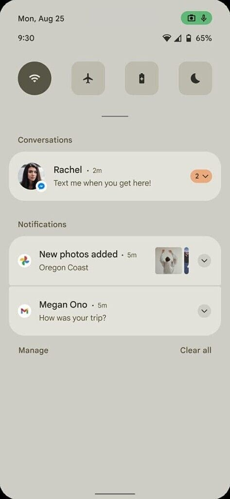 Android 12 Notifications panel