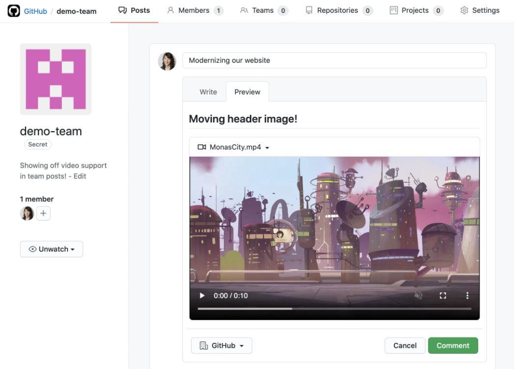 GitHub video uploads