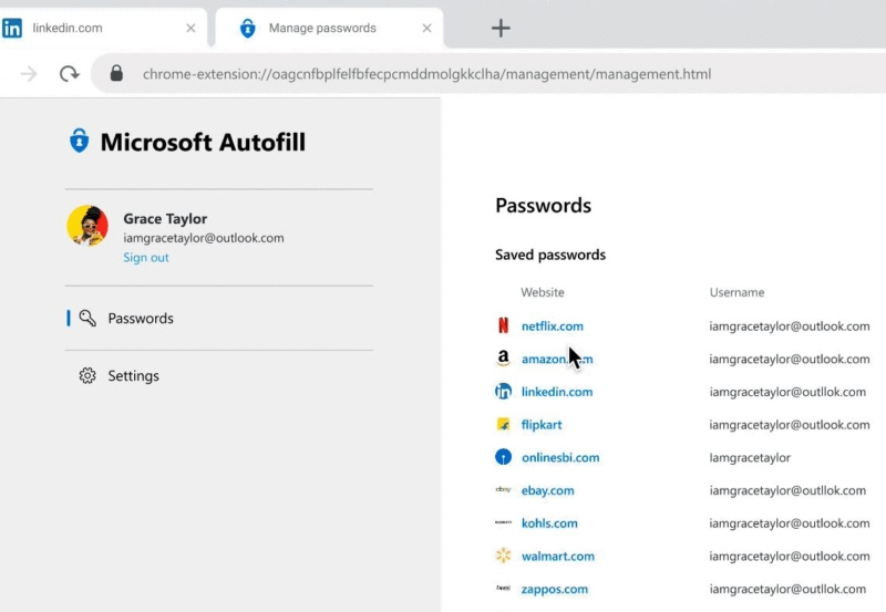 Microsoft Autofill passwords