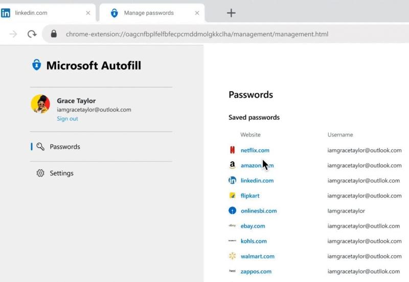 Microsoft Autofill passwords