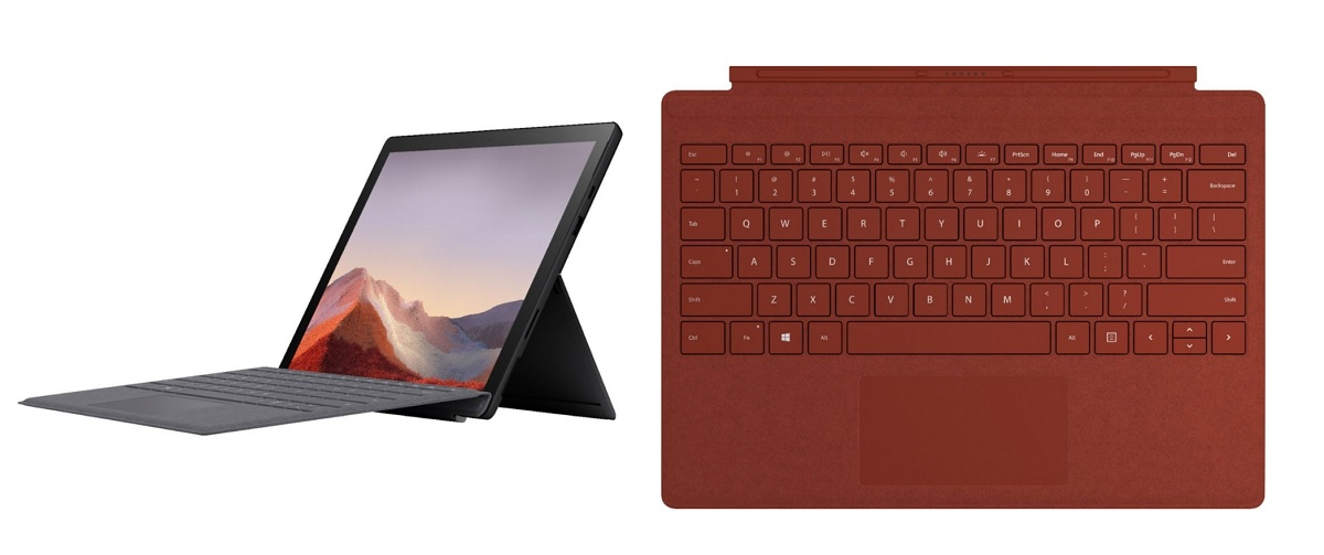 Surface Pro 7 with poppy red type cover