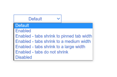 chrome tab size options