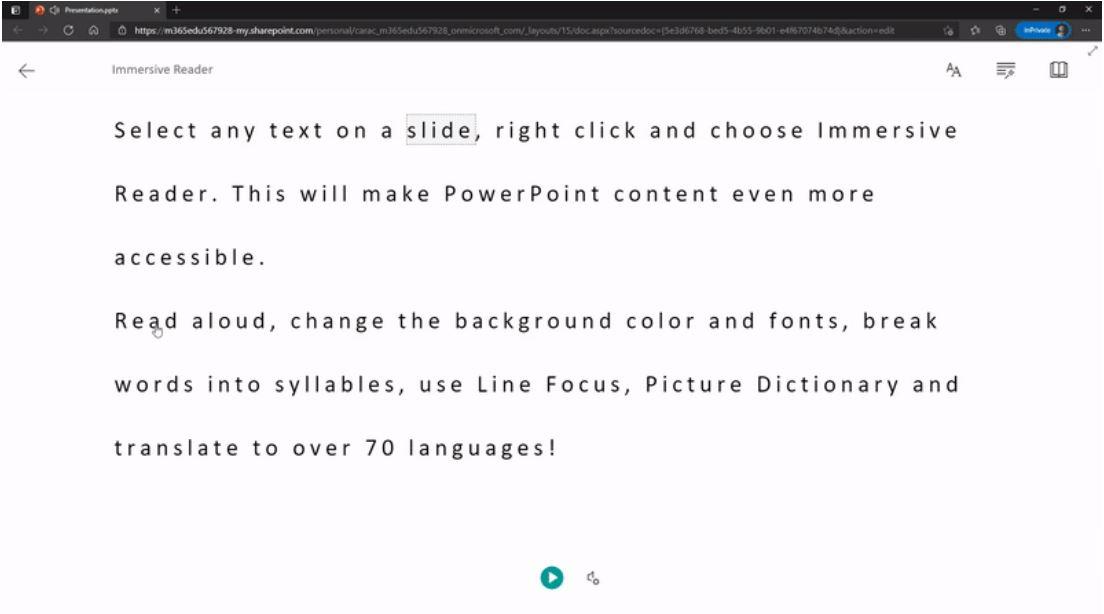Microsoft Immersive Reader PowerPoint