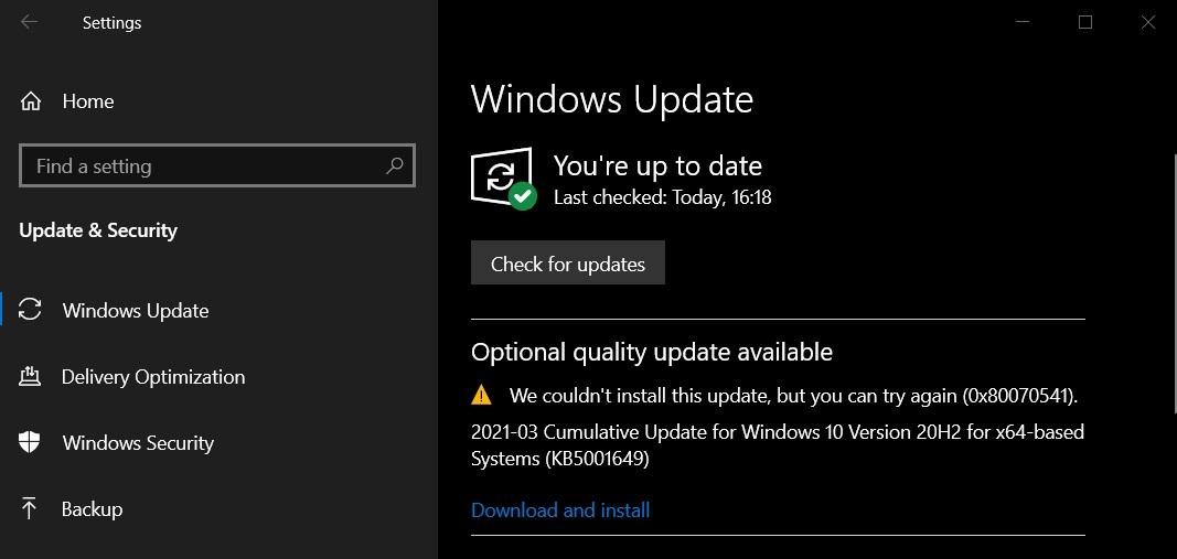 Windows Update fails