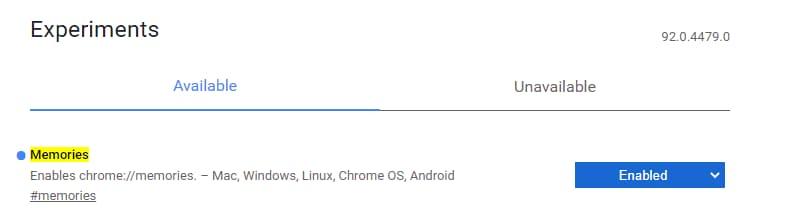 Google Chrome memories flag