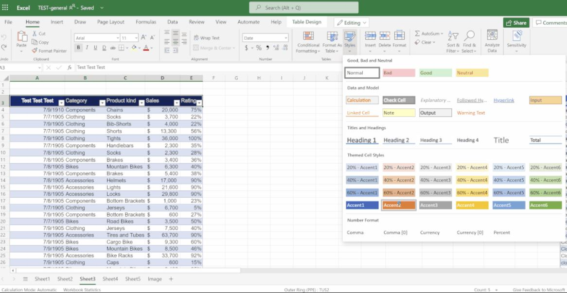 Microsoft Excel for the web