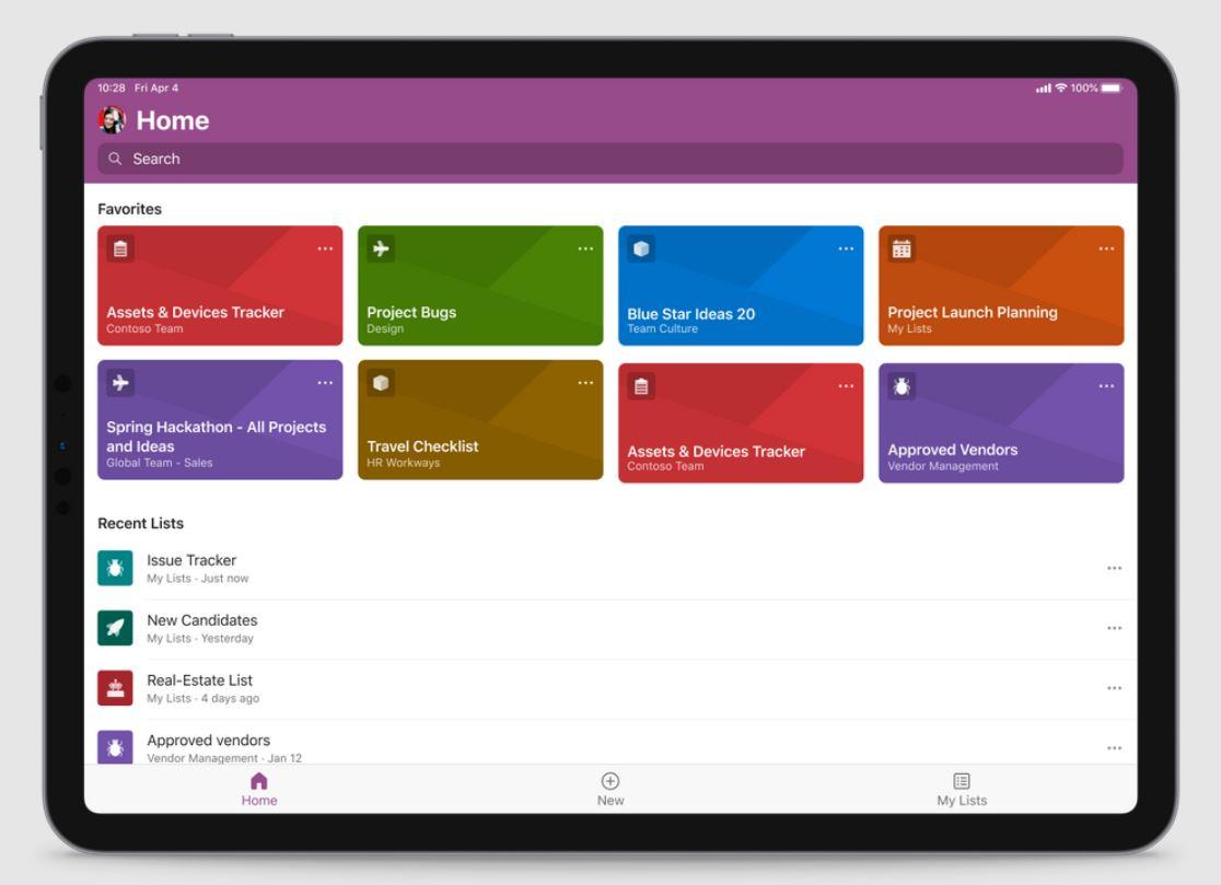 Microsoft Lists iPad app