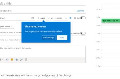 Microsoft Outlook shortened meetings