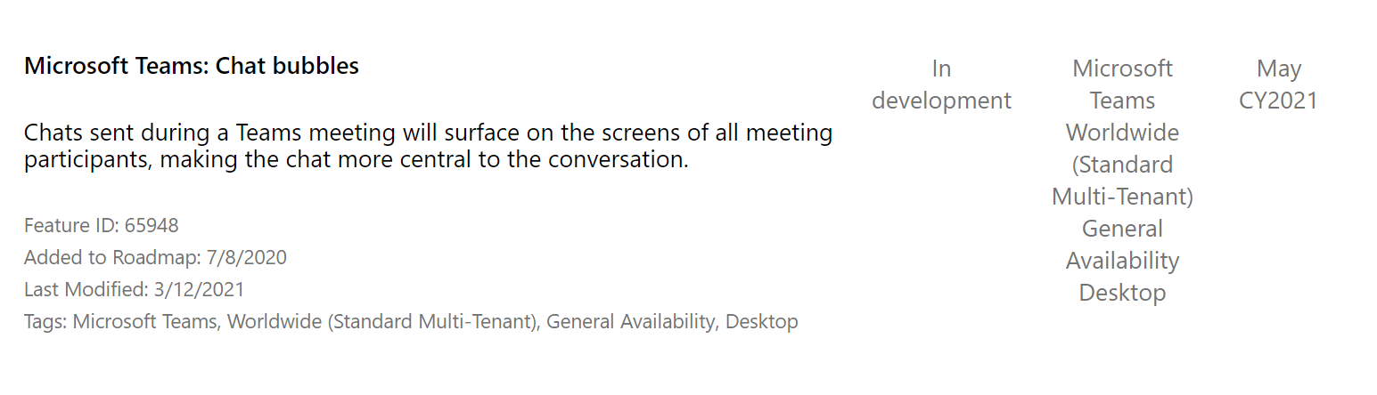 Microsoft Teams chat bubbles