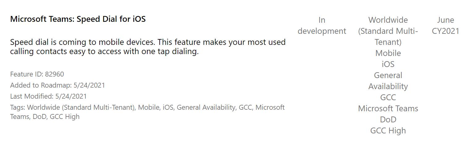 Microsoft Teams speed dial