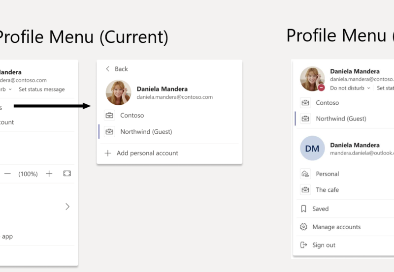 profile menu microsoft teams