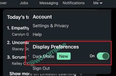 linkedin dark mode settings