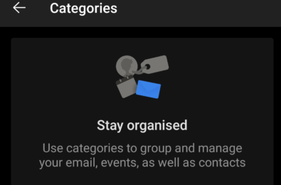 outlook for android categories