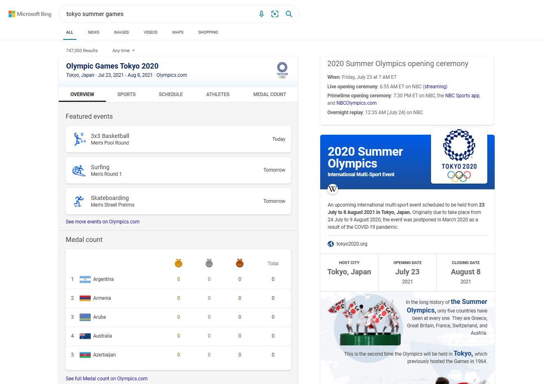 Microsoft Bing Olympic Games 2021 Tokyo