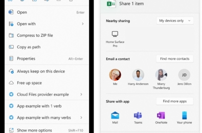 Microsoft Windows 11 Share menu context menu