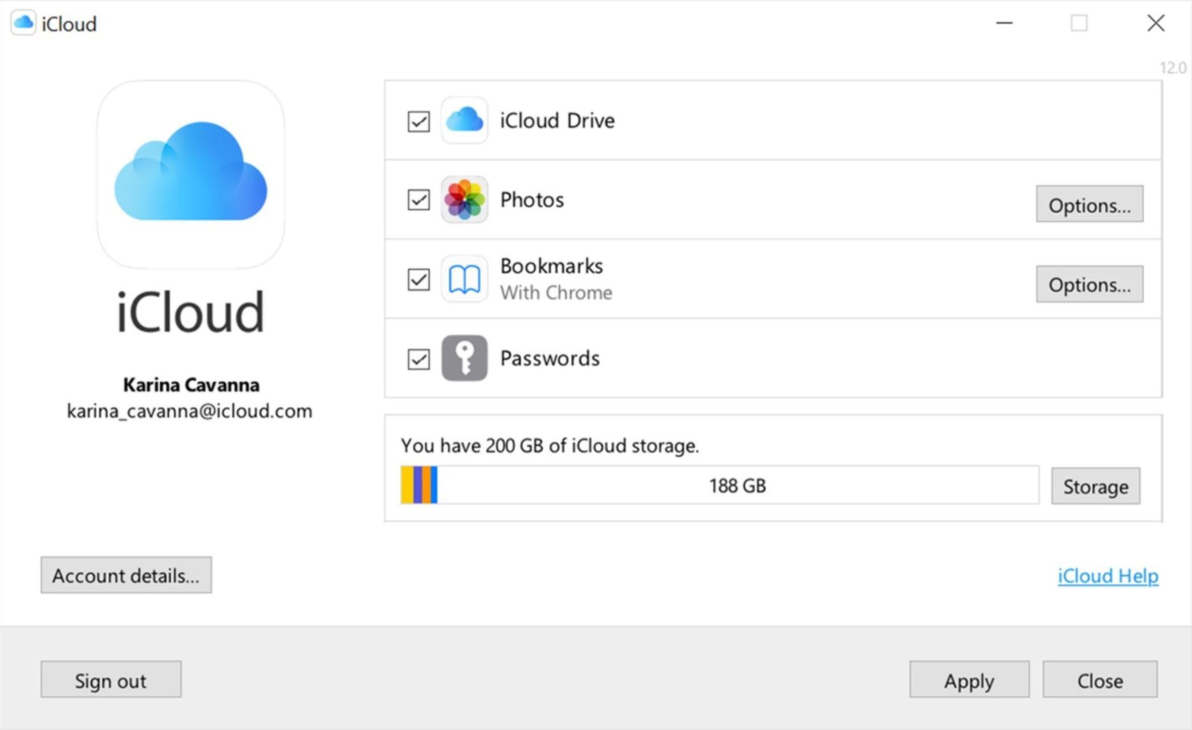 Apple iCloud Windows app