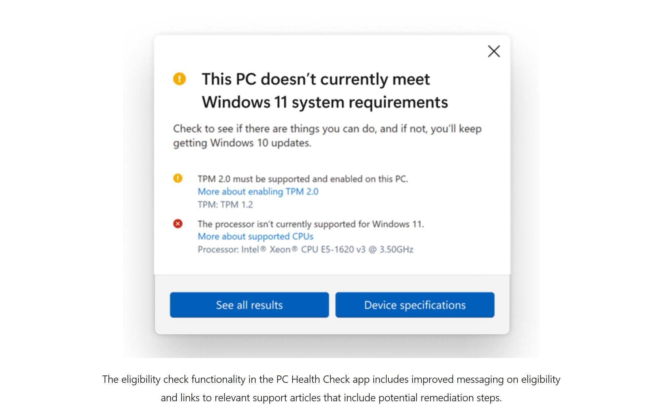 Microsoft PC Health Check app Windows 11