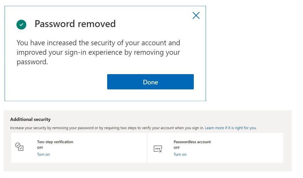 Microsoft Account password removal